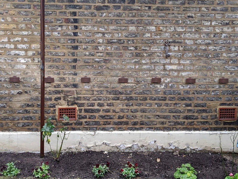 DryBricks mounted in the outside wall